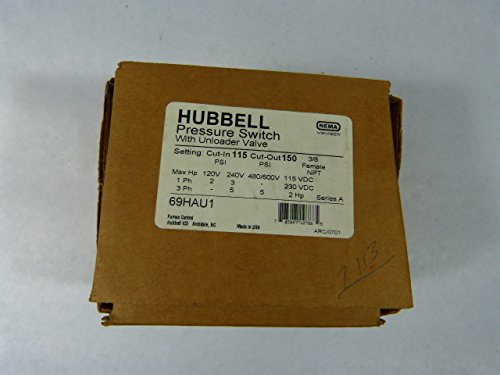 69HAU1, Hubbell/Furnas Pressure Switch, 115/150 psi Adjustable to 250 psi, w/ unloader