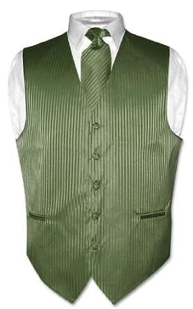 Vesuvio Napoli Men's Dress Vest & NeckTie OLIVE GREEN Color Vertical Striped Design Set sz XS