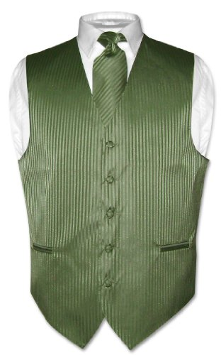 Men's Dress Vest & NeckTie OLIVE GREEN Color Vertical Striped Design Set sz L