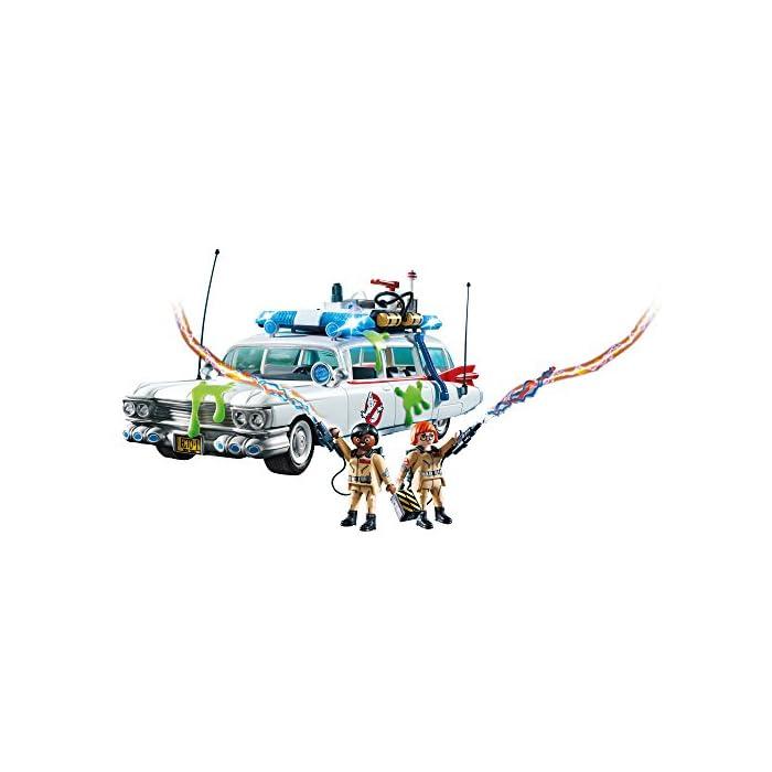 41T2J4XmpcL Diversión para pequeños cazafantasmas: Ecto-1 de los Cazafantasmas de PLAYMOBIL con fantásticos efectos de luz y sonido y espacio para 4 cazafantasmas y su equipo Techo extraíble, puerta de maletero abatible, 2 figuras, 4 fijaciones para los equipos, trampa para fantasmas y mucho más, compatible con el Cuartel Estación de Bomberos de los Cazafantasmas (9219) Juego de figuras para niños a partir de 6 años: óptimo para el tamaño de sus manos y bordes redondeados agradables al tacto