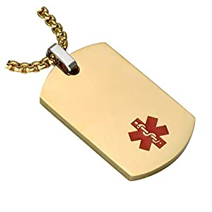 BAIYI Medical Alert ID Necklaces Stainless Steel Dog Tag Pendant Gold Silver Black (Free Engraving)