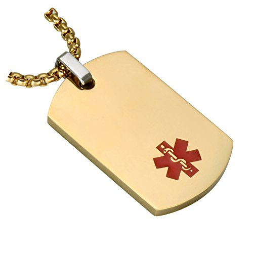 BAIYI Medical Alert ID Necklaces Stainless Steel Gold Pendant Free Engraving for Men and Women Chain 24in