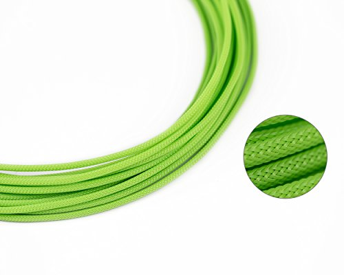 (25ft - 4mm ID Mantis Green - Teleios Premium Cable Sleeve - MAINFrame Customs PET Expandable Cable)