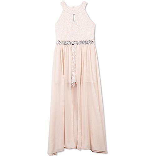 Speechless Girls' Big High Neck Maxi Romper Dress, Pale Blush, 7 -