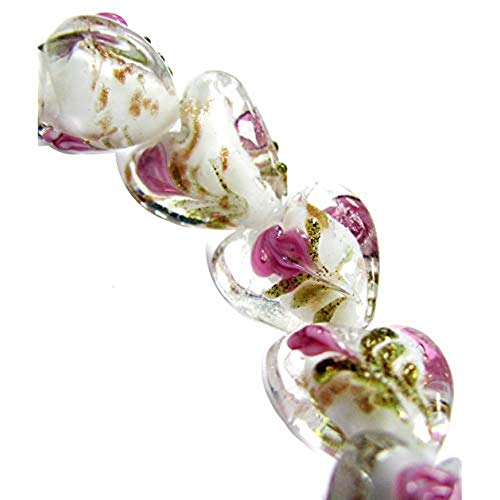 Linpeng Heart Shape with Flowers-15mm Strand Handmade Lampwork Glass Beads, White/Pink