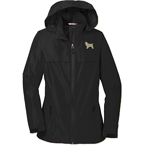(YourBreed Clothing Company Cocker Spaniel Buff Ladie's Rain Jacket Black)