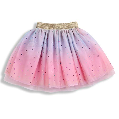 Newborn Infant Baby Girls Rainbow Sparkle Tutu Skirt Girls Sequin 3 Layered Puffy Soft Tulle Skirt (Pink, L 2-5 Years)