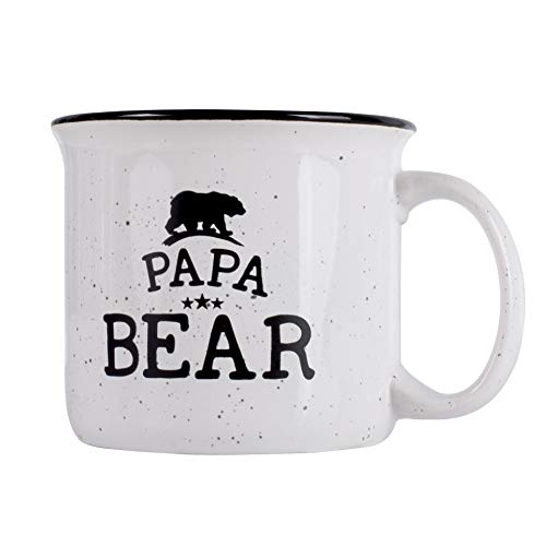 Father's Day Gifts - Papa Bear Campfire Ceramic Mug - White - 15 oz, Retro Coffee Mug for Dad Gifts Tea Cup, Perfect Christmas Gift -