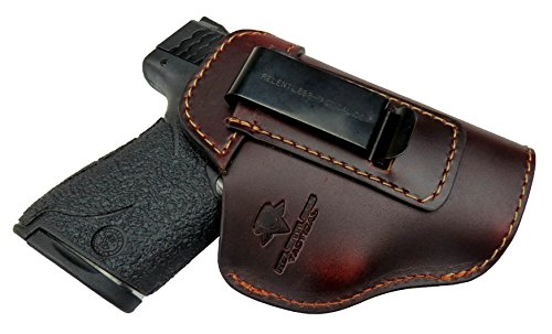 Relentless Tactical The Defender Leather IWB Holster - Made in USA - For S&W M&P Shield - GLOCK 17 19 22 23 32 33/Springfield XD & XDS/Plus All Similar Sized Handguns - Brown - Right Handed (Best Owb Holster For Glock 19 Concealed Carry)