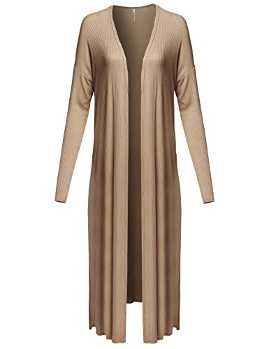 Awesome21 Casual Solid Longline Ribbed Open Front Long Sleeve Knit Cardigan Mocha Size S