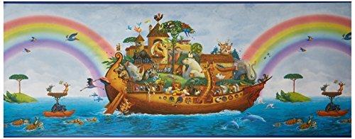 Chesapeake BBC92351B Majesty Noah'S Ark Portrait Wallpaper Border, Blue by Chesapeake