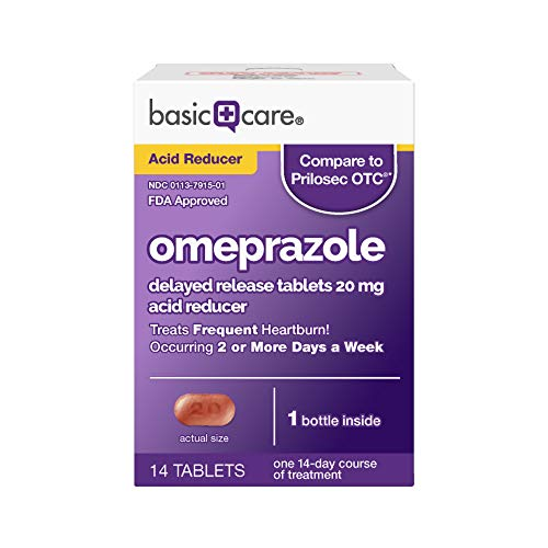 Basic Care Omeprazole Delayed Release Tablets 20 mg, Acid Reducer, 14 Count