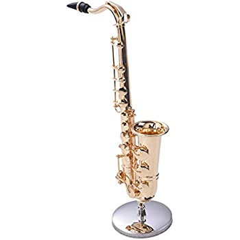 Per Mini Saxophone with Metal Stand Realistic Miniature Musical Instruments Collection