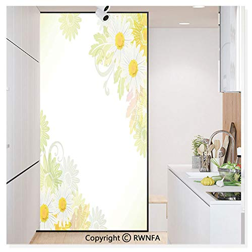 Price comparison product image Decorative Window Film, Floral Daisies Abstract Oriental Details and Leaves with Sun Like Art Print Static Cling Glass Film, No Glue / Anti UV Window Paper for Bathroom, Office, Meeting Room, Bedroom, White