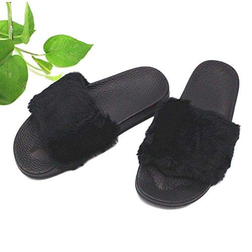 Damen Flauschig 35 V Pantoffeln 40 Rutschfeste Hausschuhe schwarz Pantoletten Dreamone Gr Plüsch wEaqgSX