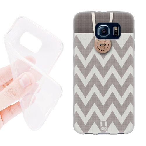 Head Case Designs Chevron Grey Button Purse Soft Gel Back Case Cover for Samsung Galaxy S6 G920, Galaxy S6 Duos