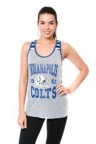 Icer Brands NFL Women's Indianapolis Colts Jersey Sleeveless Mesh Soft Tank Top Tee Shirt, Small, Gray (Womens Colts Jerseys)