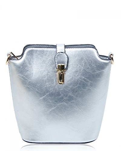 Cross 160402 Chic Plain Across Plain Bag Bag Faux Size Body Silver Small Ladies Body Handbags Women's Crocodile Skin LeahWard IwSqXZga