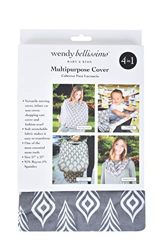 - Wendy Bellissimo Multipurpose Shopping Cart and Highchair Cover, Nursing Cover, can be Used as Scarf, Infant Car Seat Cover, Feather Printing 27