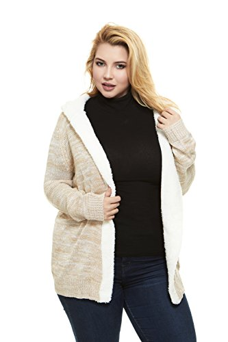 No Comment Women Hooded Cardigan Sweater With Sherpa Lining, Junior & Plus Sizes