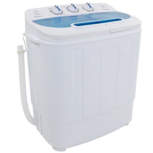 ROVSUN Portable Washing Machine with Twin Tub Electric Compact Mini Washer, Wash 8LBS+Spin 5LBS Capacity Energy/Save Space, Laundry Spin Cycle w/ Hose,Perfect for Home RV Camping Dorms College Rooms