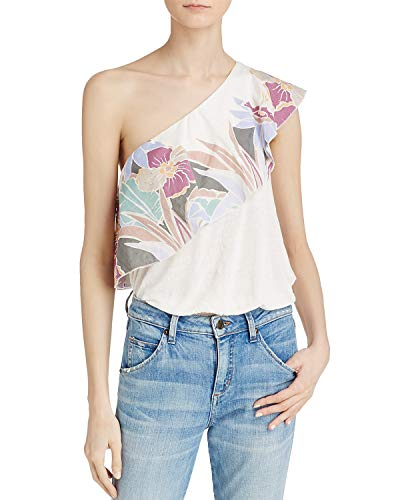 - Free People Womens Annka One-Shoulder Floral Casual Top Ivory L