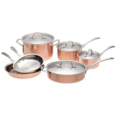 Calphalon T10 Tri-Ply Copper 10 Piece Set, Brown