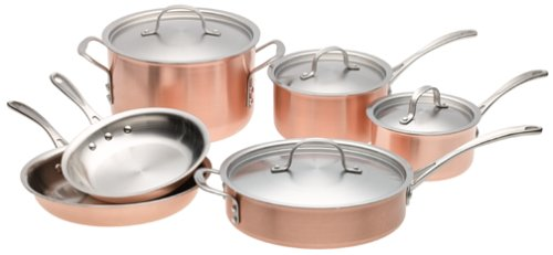 Copper Tri Ply - Calphalon T10 Tri-Ply Copper 10 Piece Set, Brown
