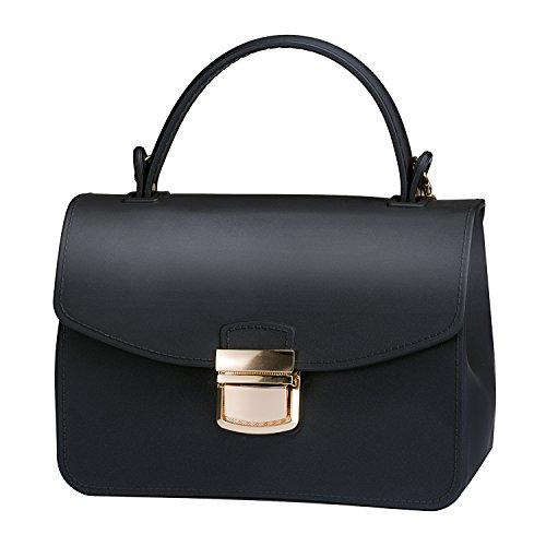 3ae2da4c98f Top Handle Clutch Handbags Jelly Crossbody Bags for Women Tote Purse -  Black by Chrysansmile (