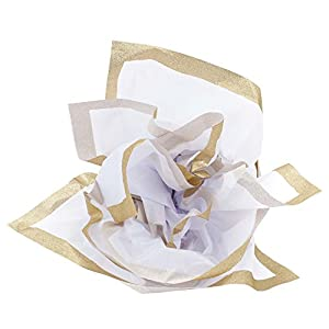 Hallmark Signature Tissue Paper (White with Gold Glitter Edge)