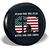 Stand for The Flag Kneel for The Cross Spare Tire Cover Waterproof Dust-Proof for Jeep, Trailer, RV, SUV, Truck Wheel 16 Inch