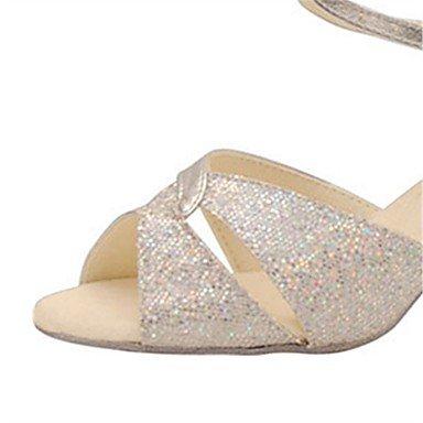 Latino de silver Salsa Swing baile Personalizado Personalizables Zapatos de Zapatos Plata Tacón tn71BqPw