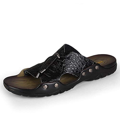 Personalità Scarpa Giallo Estate Spiaggia Bluelover Pelle Pizzo Texture Coccodrillo Uomini Traspirante Nero Sandali Pantofole 43 E In Di w77xATYqR