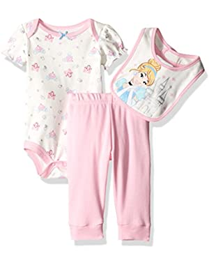 Baby Girls' 3 Pack Cinderella Bodysuit, Pant, and Bib Set