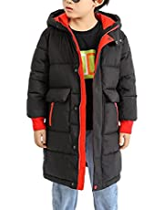 Kids Knee Length Puffer Quilted Jacket Winter Thick Warm Parka Outwear 2 Side Way Zipper Padded Hooded Coats 4-10 Years