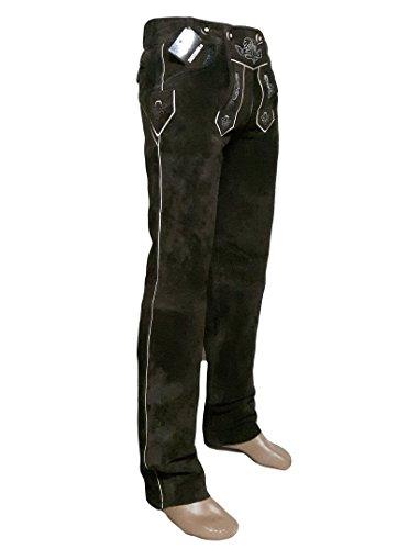SHAMZEE Trachten Lederhose lang in braun farbe Echt Leder SHAMZEE Trachtenlederhosen Gr. 46-62 (taillenmaß stehen im beschreibung) (Braun, 48)