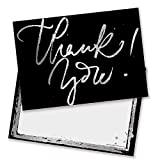 Black with Silver Script Thank You Cards - Includes Envelopes (Pack of 10) - by Ruby Ashley