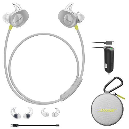 Bose SoundSport Wireless In-Ear Headphones - Citron & Car Charger - Bundle