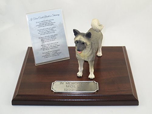 Beautiful Walnut Finished Personalized Memorial Plaque With Gray Akita Figurine