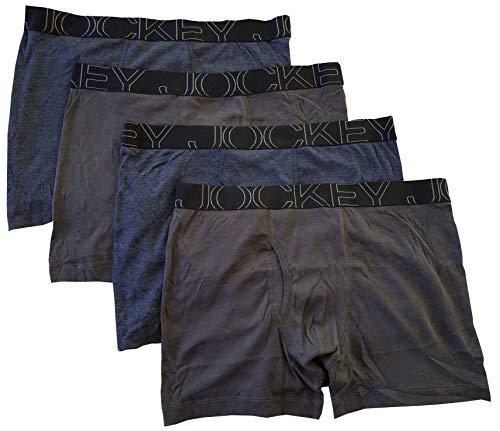 Jockey Men's Underwear ActiveBlend Boxer Brief - 4 Pack (XX-Large, Heather Navy/Slate)