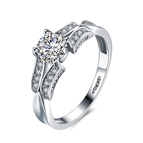 Eternity Love Women Wedding Engagement Rings 18K Gold Plated Cz Diamonds Bands Solitaire Princess Cut Promise Anniversary Bridal Jewelry Infinity Love for Her, JPR814-8