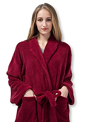 Pembrook Ladies Robe - Plush Fleece - Kimono Wrap - Spa Bathrobe Women, Girls