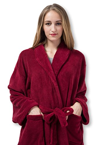 Pembrook Ladies Robe - Fleece – Dark Red - Size S/M – Spa Bathrobe Women, Girls