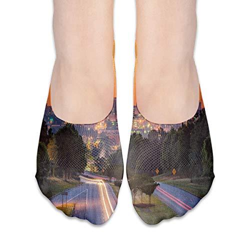 Women's No Show Sock, Skyline Of Columbia City South Carolina Main Street Urban Scene,Non-Slid Socks