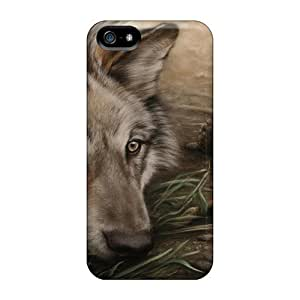 Iphone 5/5s Cover Case - Eco-friendly Packaging(wolf Drawing)