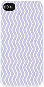 Rikki KnightTM Powder Blue Chevron Zig Zag Stripes Design iPhone 4 & 4s Case Cover (White Rubber with bumper protection) for Apple iPhone 4 & 4s