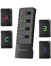 OOWOLF Key Finder, Wireless RF Item Locator Anti-Lost Alarm Item Tracker Finder Loud Beeping Sound with 4 Receivers Rechargeable for Car Keys, TV Remote, Wallet, Phone