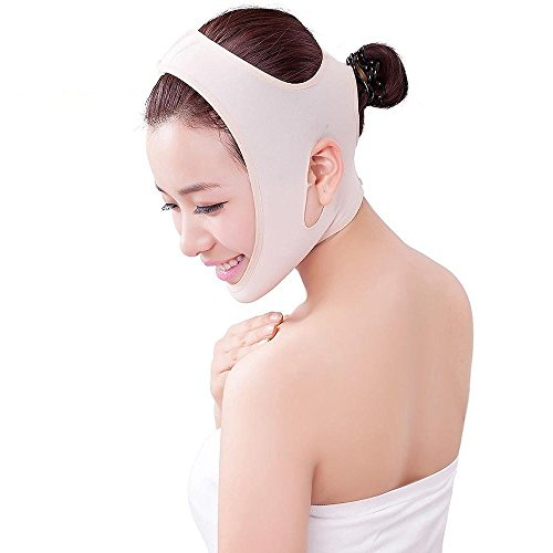 Luismia New Version Anti-aging Wrinkle Free Beauty V-Line Chin Neck Facial Skin Lift Up Belt Mask ( Flesh Color )(Large)