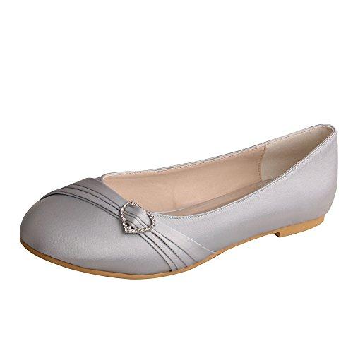 Wedopus MW925 Women's Round Toe Pleated Strap Flat Rhinestone Wedding Bridal Shoes Satin Size 9 ()