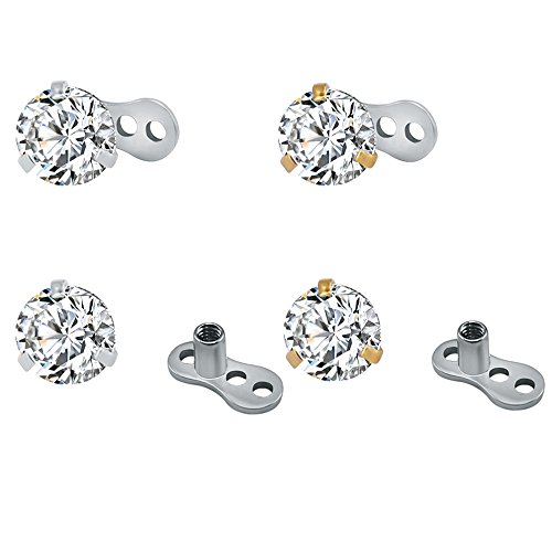Pierced Art Trends 4Pcs 14g Surgical Steel Round Cubic Zirconia Dermal Anchor Tops and Base Microdermals Body Jewelry (Cubic Zirconia: 3mm) ()